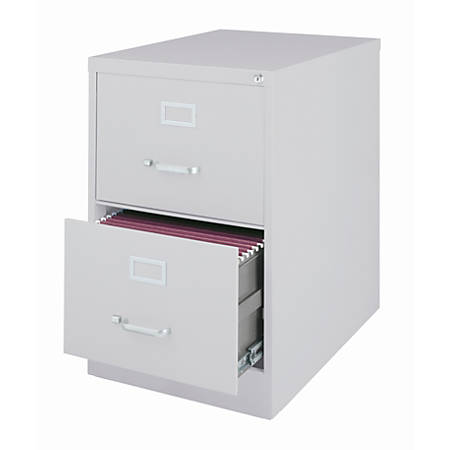 """WorkPro® 26 1/2""""D 2-Drawer Legal-Size Vertical File Cabinet, Light Gray"""