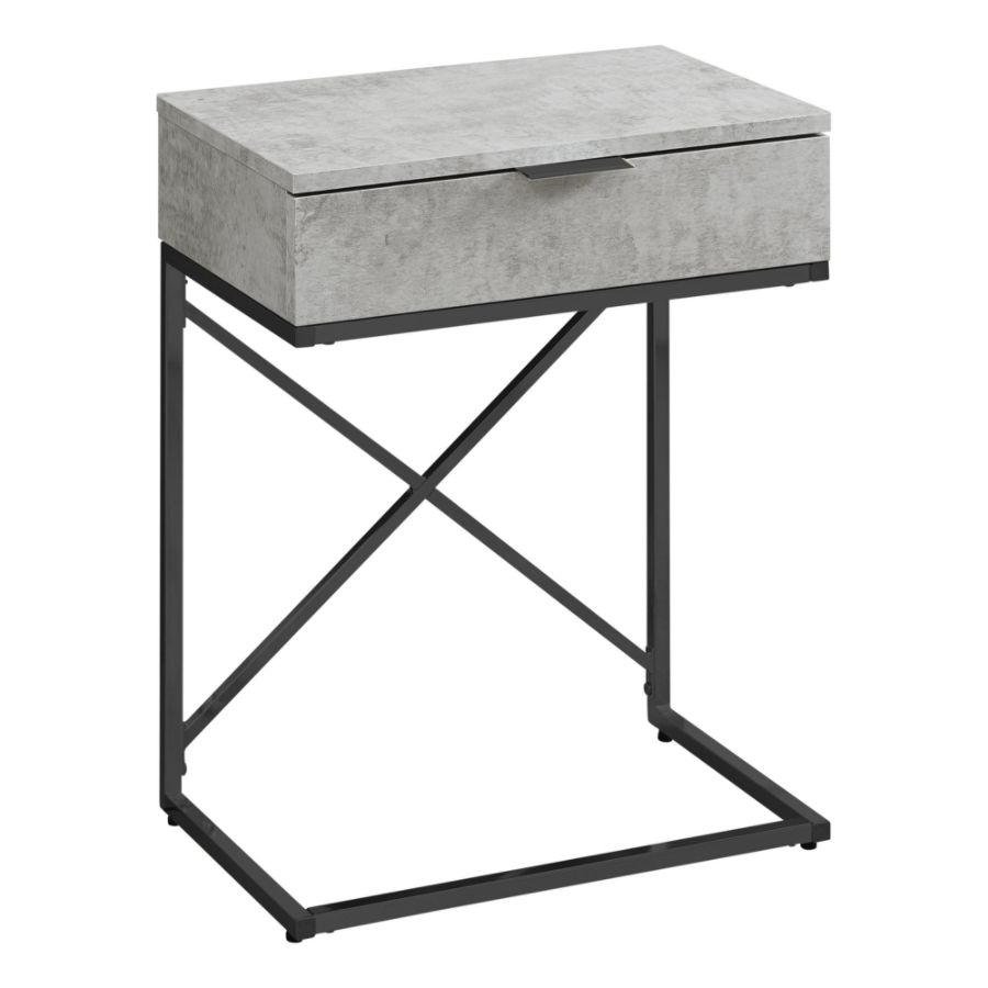 Monarch Specialties Accent End Table Rectangular Gray CementBlack By Office  Depot U0026 OfficeMax