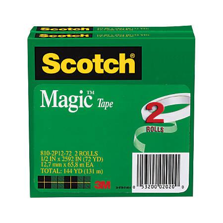 """Scotch® Magic™ 810 Tape, 1/2"""" x 2,592"""", Pack Of 2 Rolls"""