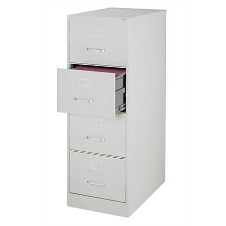"WorkPro® 26-1/2""D Vertical 4-Drawer Legal-Size File Cabinet, Metal, Light Gray"
