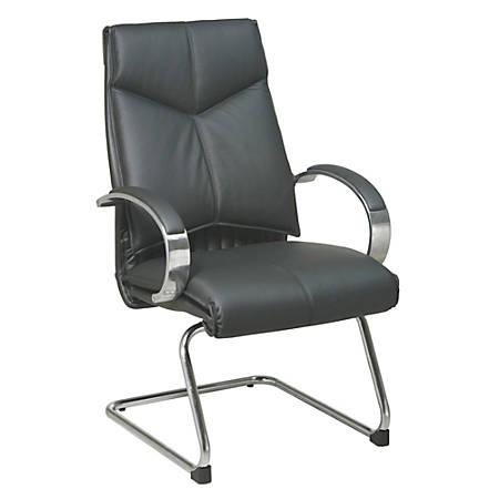 """Office Star™ Deluxe Leather Mid-Back Chair, 40""""H x 25 3/4""""W x 27 1/4""""D, Black"""