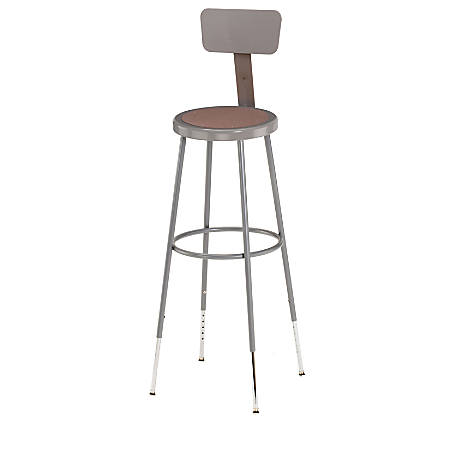 "National Public Seating Adjustable Hardboard Stools With Backs, 44 - 53 1/2""H, Gray, Set Of 3"