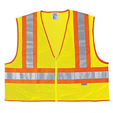 FLUORESCENT LINE SAFETYVEST W ORNGSIL STRIPES
