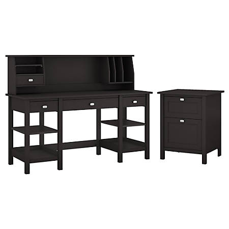 "Bush Furniture Broadview 60""W Desk With Storage Shelves, Small Hutch Organizer And File Cabinet, Espresso Oak, Standard Delivery"