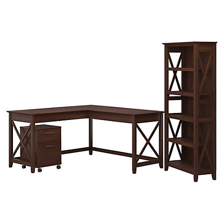 """Bush Furniture Key West 60""""W L-Shaped Desk With Mobile File Cabinet And 5-Shelf Bookcase, Bing Cherry, Standard Delivery"""