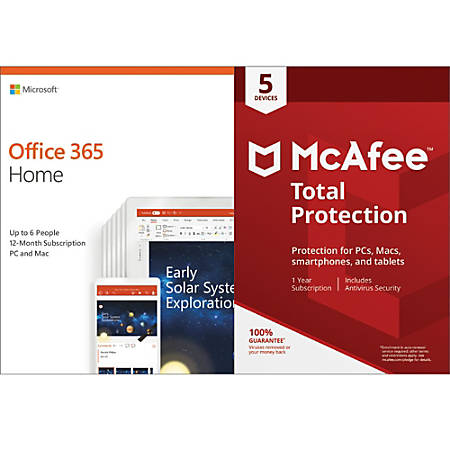 Microsoft Office 365 Home With McAfee Total Protection, For 6 PC And Apple®  Mac® Devices, Download Version Item # 4507217