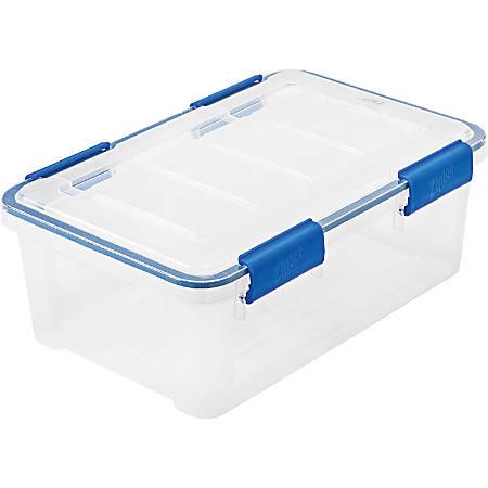 "IRIS® Ziplock WeatherShield Storage Box, 17 7/16"" x 11 13/16"" x 6 3/4"", Clear, Carton Of 6"