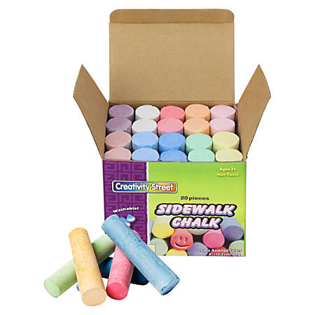 Chenille Kraft Sidewalk Chalk, Assorted Colors, Box Of 20