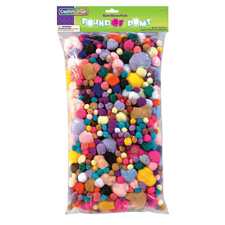 Chenille Kraft Pom-Poms, Assorted Sizes, Assorted Colors, Box Of 1,000