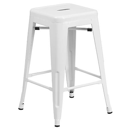 """Flash Furniture 24""""H Commercial-Grade Metal Backless Counter Stool, White"""