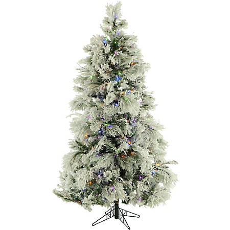 "Fraser Hill Farm Flocked Snowy Pine Christmas Tree, 6 1/2' X 80"" Diameter, With Clear LED String Lighting"