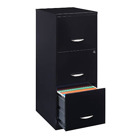 "Realspace® 18""D 3-Drawer Metal Vertical File Cabinet, Black"