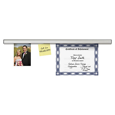 "Advantus Grip-A-Strip Display Rail, 1 1/2"" x 12"", Platinum Satin Finish"
