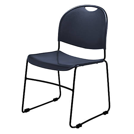 Commercialine Multipurpose Ultra-Compact Stack Chairs, Navy/Black, Set Of 4 Chairs