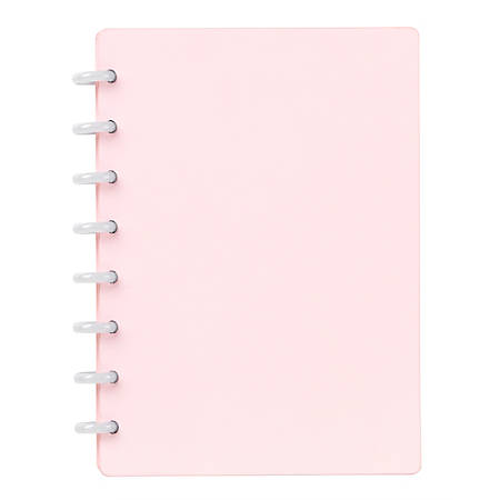 """TUL™ Custom Note-Taking System Discbound Notebook, 5-1/2"""" x 8-1/2"""", Junior Size, Soft Touch Cover, Pink"""