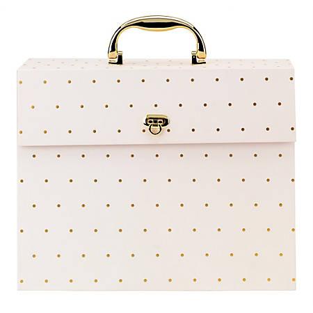 Office Depot® Letter Case File, 19 Pockets, Letter Paper Size, Pink/Gold Dots