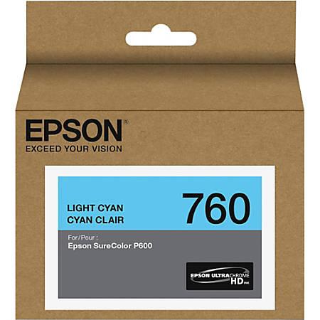 Epson UltraChrome HD T760 Original Ink Cartridge - Inkjet - Light Cyan - 1 Each