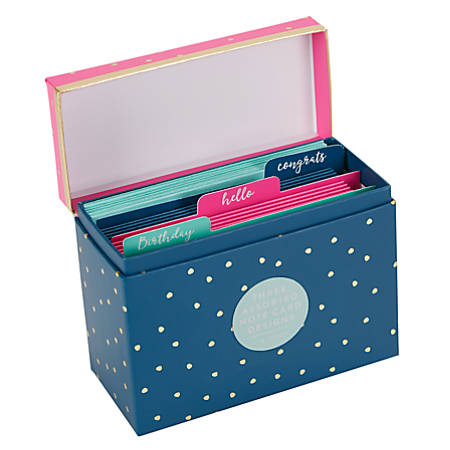 "Sincerely A Collection by C.R. Gibson® Assorted Note Cards, 3 7/16"" x 4 3/4"", Navy/Pink Gold Dot, Pack Of 16"