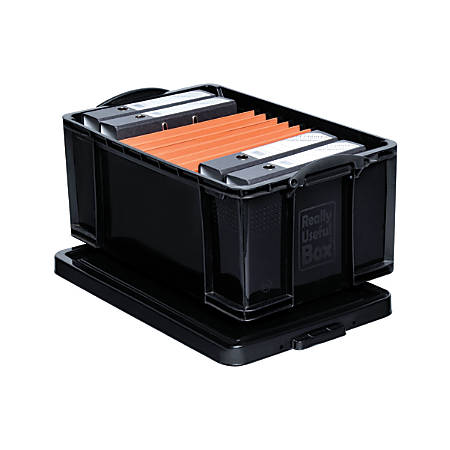 "Really Useful Box® Plastic Storage Box, 64 Liter, 100% Recycled, 27 3/4"" x 17"" x 12"", Black"