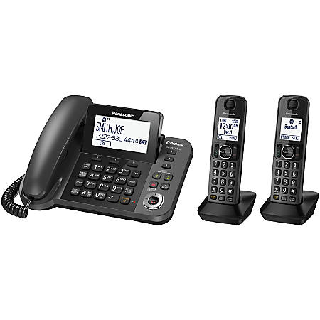 Panasonic® Link2Cell Bluetooth® DECT 6.0 Phone System And Answering Machine With 1 Corded And 2 Cordless Handsets, KX-TGF382M