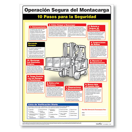 """ComplyRight Forklift Safety Poster, Spanish, 18"""" x 24"""""""
