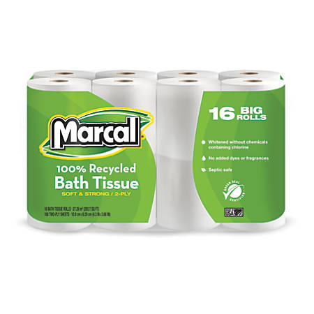 Marcal® Small Steps® 100% Recycled Premium 2-Ply Bathroom Tissue, 168 Sheets Per Roll, Pack Of 16 Rolls