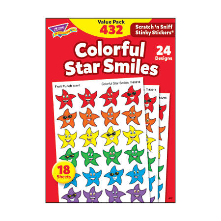 Trend® Stinky Stickers, Smiley Stars, Pack Of 432