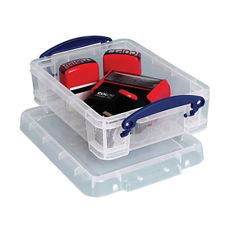 "Really Useful Box® Plastic Storage Box, 1.75 Liters, 9 1/2"" x 7"" x 3"", Clear"
