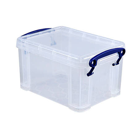 really useful box plastic storage box 1 6 liters 7 12 x 5 14 x 4 14 clear office depot. Black Bedroom Furniture Sets. Home Design Ideas