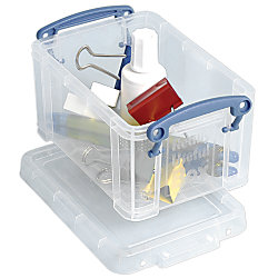 "Really Useful Box® Plastic Storage Box, 0.7 Liter, 6"" x 4"" x 3"", Clear"