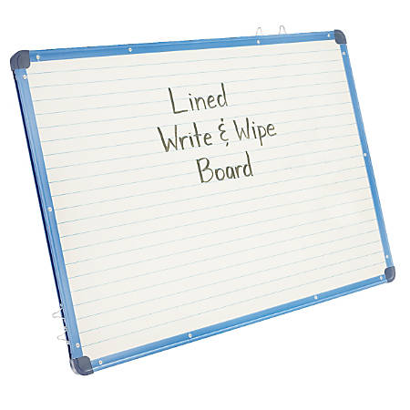 "Copernicus Magnetic Lined Dry-Erase Board, 24""H x 34""W x 3/4""D, White/Blue"