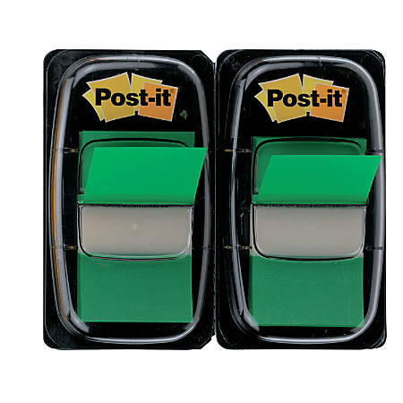 "Post it® Flags, 1"" x 1 7/10"", Green, 50 Flags Per Pad, Pack Of 2 Pads"
