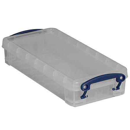 "Really Useful Box® Plastic Storage Box, 0.55 Liter, 8 1/2"" x 4"" x 1 3/4"", Clear"