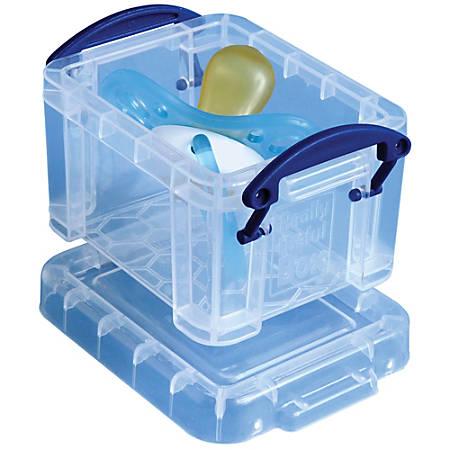 "Really Useful Box® Plastic Storage Box, 0.14 Liter, 3 1/4"" x 2 1/2"" x 2"", Clear"