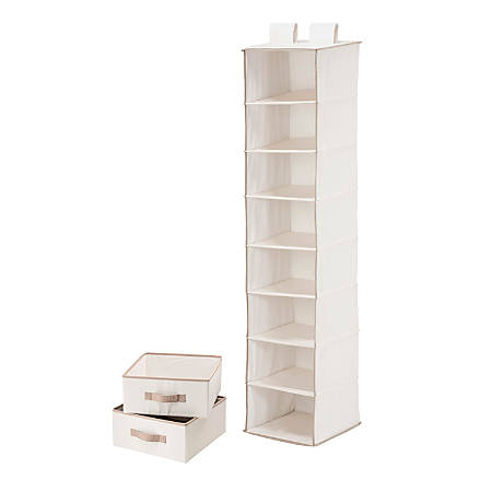 """Honey-Can-Do 8-Shelf Hanging Vertical Closet Organizer With 2-Pack Drawers, 54""""H x 12""""W x 12""""D, Natural"""