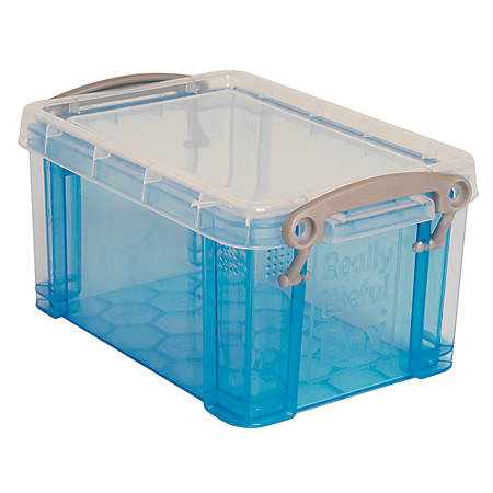 "Really Useful Box® Plastic Storage Box, 1.6 Liters, 7 1/2"" x 5 1/4"" x 4 1/4"", Blue"