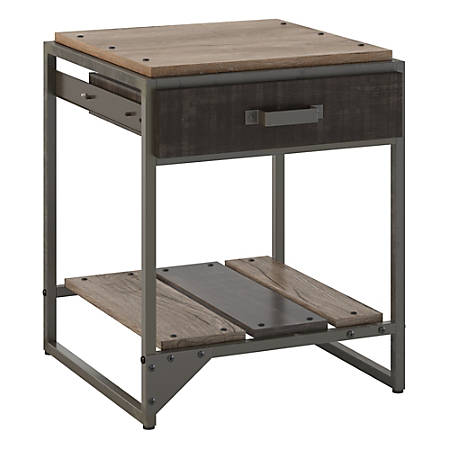 Bush Furniture Refinery End Table With Drawer, Rustic Gray/Charred Wood, Standard Delivery
