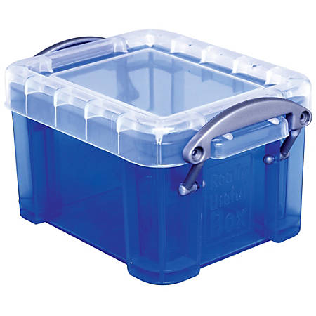 "Really Useful Box® Plastic Storage Box, 0.14 Liter, 3 1/4"" x 2 1/2"" x 2"", Blue"