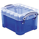 "Really Useful Box® Plastic Storage Box, 0.14 Liter, 3 1/4"" x 2 1/2"" x 2"", Blue"