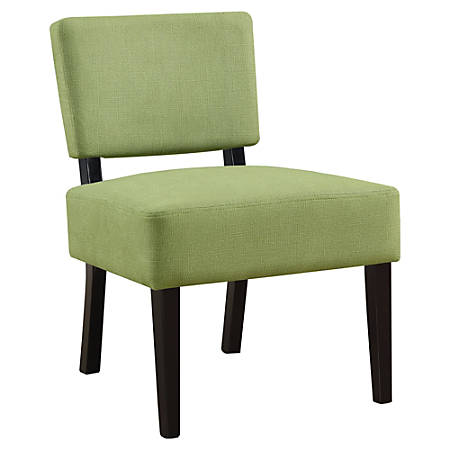 Monarch Specialties Armless Accent Slipper Chair, Lime Green/Black
