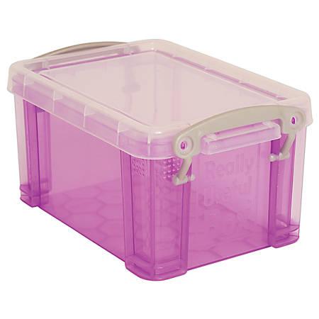 "Really Useful Box® Plastic Storage Box, 1.6 Liters, 7 1/2"" x 5 1/4"" x 4 1/4"", Purple"