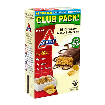 Atkins High-Protein Chocolate Peanut Butter Meal Bars, 2.12 Oz, Pack Of 15 Bars