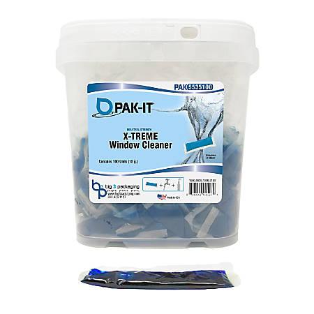 PAK-IT® X-Treme Window Cleaners, Pleasant Scent, 76 Oz, Blue, Pack Of 100 PAK-Its