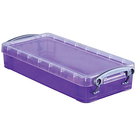 "Really Useful Box® Plastic Storage Box, 0.55 Liter, 8 1/2"" x 4"" x 1 3/4"", Purple"