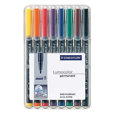 Staedtler® Mars® Lumocolor® Permanent Markers, Broad, 80% Recycled, Assorted Colors, Pack Of 8