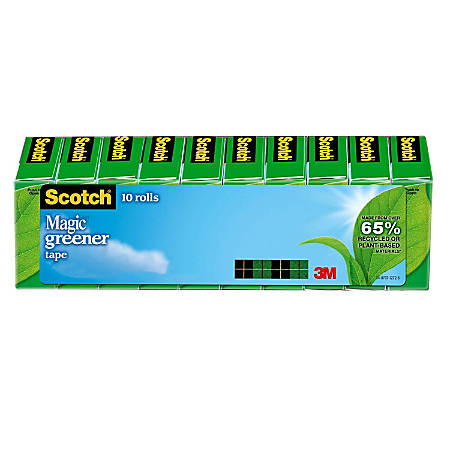 "Scotch® Magic™ 812 Greener Invisible Tape, 3/4"" x 900"", Pack Of 10 Rolls"