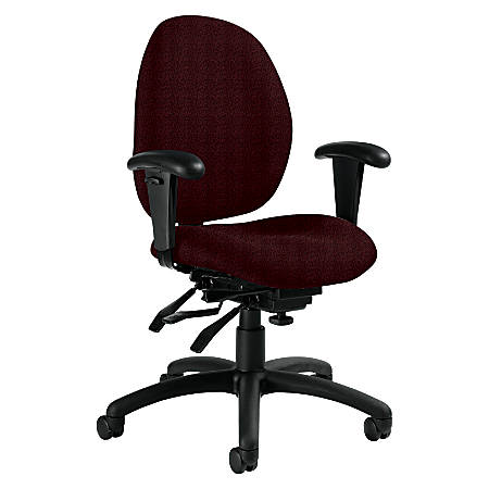 """Global® Malaga Low-Back Multi-Tilter Chair With Arms, 37""""H x 26""""W x 24""""D, Black Frame, Cabernet Fabric"""
