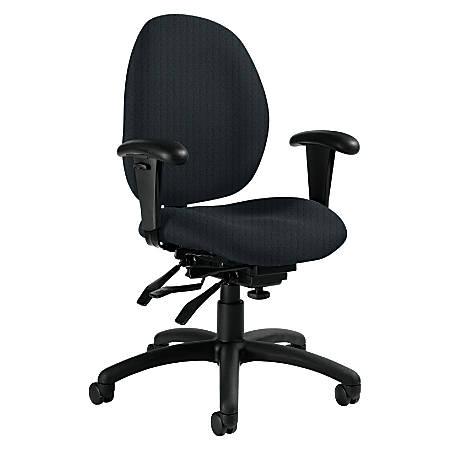 """Global® Malaga Low-Back Multi-Tilter Chair With Arms, 37""""H x 26""""W x 24""""D, Black Frame, Graphite Fabric"""
