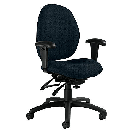 """Global® Malaga Low-Back Multi-Tilter Chair With Arms, 37""""H x 26""""W x 24""""D, Black Frame, Sapphire Fabric"""