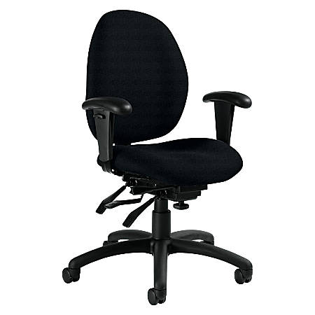 """Global® Malaga Low-Back Multi-Tilter Chair With Arms, 37""""H x 26""""W x 24""""D, Black Frame, Black Fabric"""